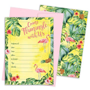 Let's Flamingle Pink Flamingo Party Invitation Cards with Envelopes - 10 Count