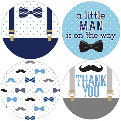 Little Man Boy Baby Shower Large Round Labels - 40 Count