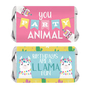 Llama Birthday Party Mini Candy Bar Wrappers - 45 Stickers