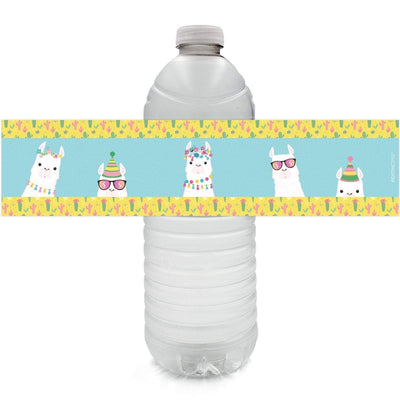 Llama Birthday Party Water Bottle Labels - 24 Stickers