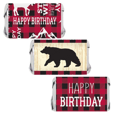 Lumberjack Plaid Birthday Mini Candy Bar Labels - 45 Stickers