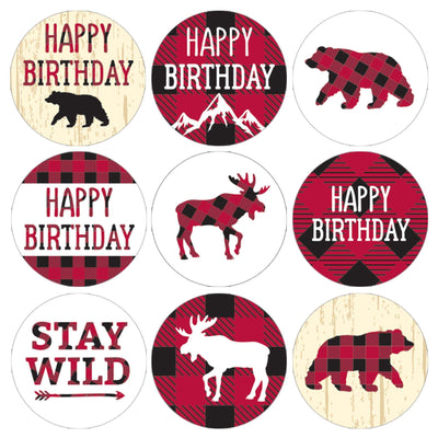 Lumberjack Plaid Birthday Party Favor Stickers - 180 Count