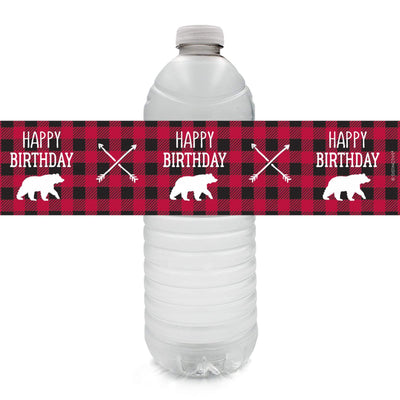 Lumberjack Plaid Birthday Water Bottle Labels - 24 Stickers