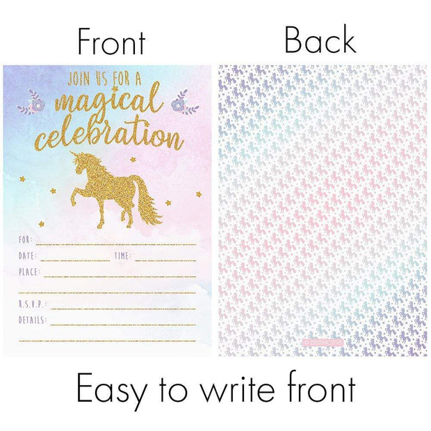 Magical Unicorn Party Invitations with Envelopes - 12 Count