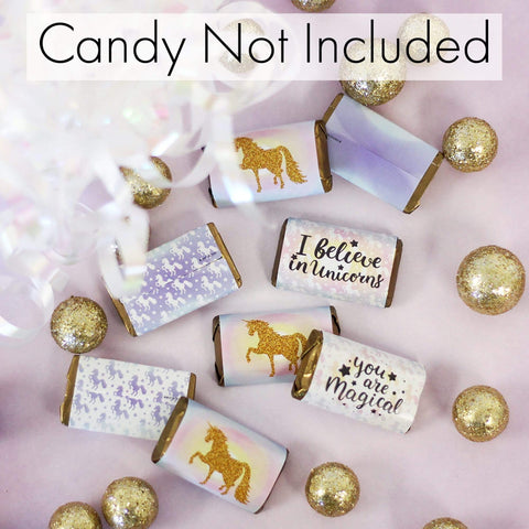 Magical Unicorn Party Mini Candy Bar Stickers - 45 Count