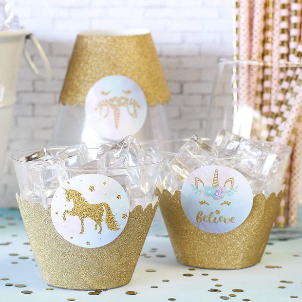 Magical Unicorn Party Round Labels - 40 Stickers