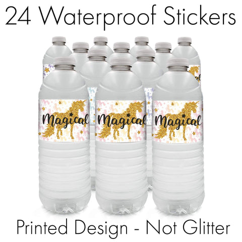 Magical Unicorn Party Water Bottle Labels (24 Count)