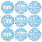 Onederland Snowflake Winter 1st Birthday Favor Stickers - 180 Labels
