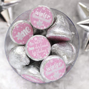 Onederland Snowflake Winter 1st Birthday Favor Stickers - 180 Labels (Pink)