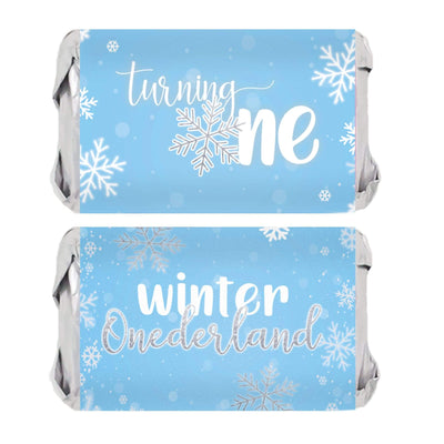 Onederland Snowflake Winter 1st Birthday Mini Candy Bar Wrappers - 45 Stickers (Blue)