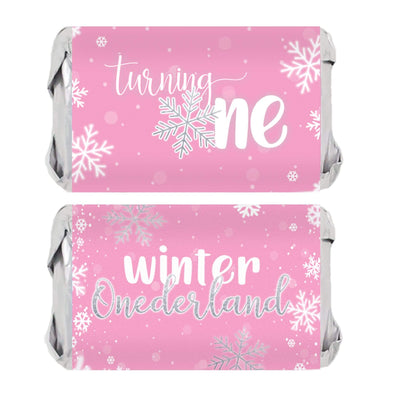 Onederland Snowflake Winter 1st Birthday Mini Candy Bar Wrappers - 45 Stickers (Pink)