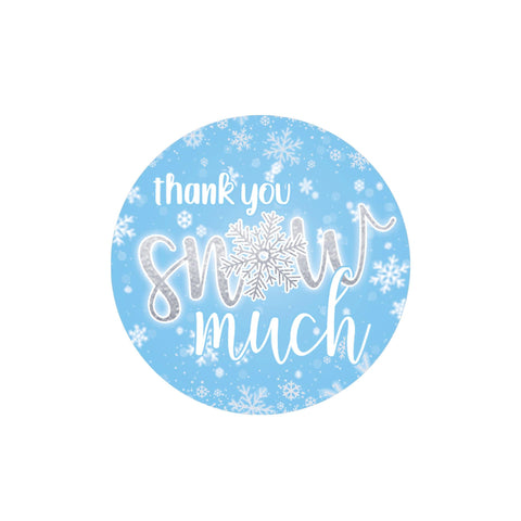 Onederland Snowflake Winter 1st Birthday Thank You Snow Much Stickers (Blue)