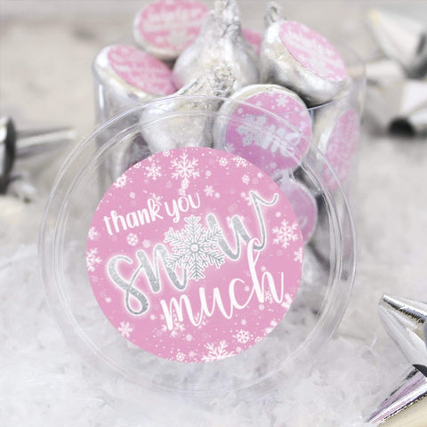 Onederland Snowflake Winter 1st Birthday Thank You Snow Much Stickers (Pink)