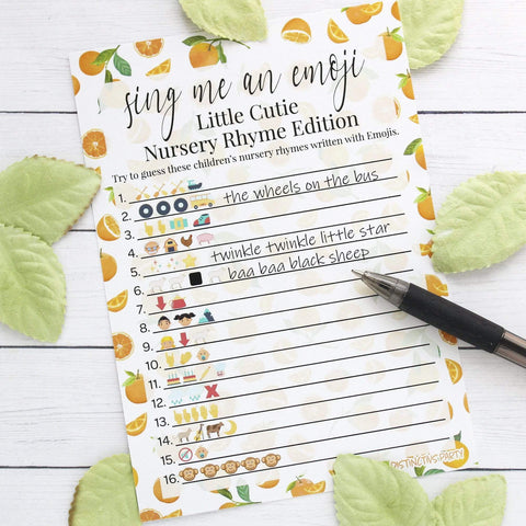 Orange Little Cutie Baby Shower Emoji Game Cards - 20 count