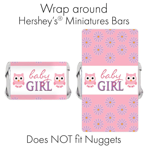 Owl Baby Shower Mini Candy Bar Wrappers - 45 Stickers