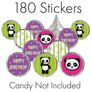 Panda Birthday Party Favor Stickers - 180 Count