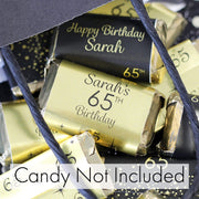 Personalized Black and Gold Birthday Mini Candy Bar Labels - Shiny Foil - 15 Stickers