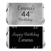 Personalized Black and Silver Birthday Mini Candy Bar Labels - Foil - 45 ct