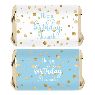 Personalized Blue and Gold Birthday Mini Candy Bar Labels - 45 Stickers