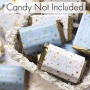 Personalized Blue and Gold Bridal Shower Mini Candy Bar Labels - 45 Stickers