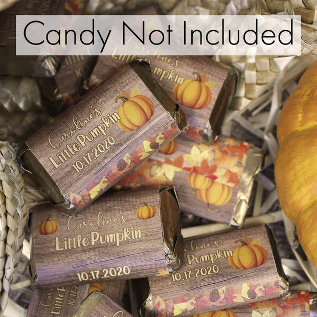 Personalized Fall Pumpkin Mini Candy Bar Labels - 45 Stickers