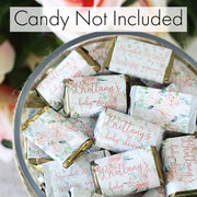Personalized Floral Baby Shower Mini Candy Bar Labels - 15 Stickers