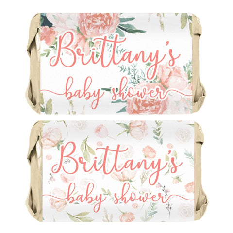 Personalized Floral Baby Shower Mini Candy Bar Labels - 45 Stickers