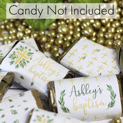 Personalized Greenery Baptism Mini Candy Bar Labels - 45 Stickers