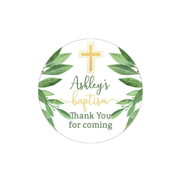 Personalized Greenery Baptism Thank You Stickers - 40 Labels