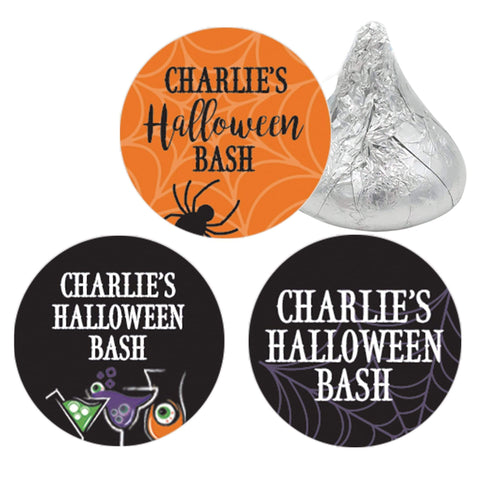 Personalized Halloween Party Favor Stickers - Eat Drink and Be Scary - 180 Labels