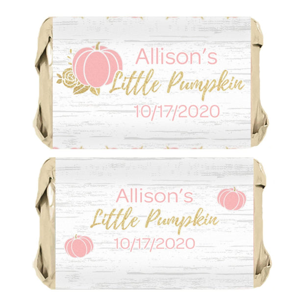 Personalized Pink and Gold Pumpkin Mini Candy Bar Labels - 45 Stickers