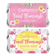 Personalized Pink Flamingo Mini Candy Bar Labels - 45 Stickers