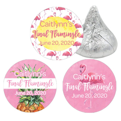 Personalized Pink Flamingo Party Favor Stickers - 180 Labels