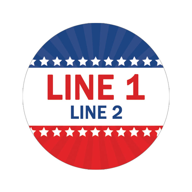 Personalized Political Campaign Vote For Stickers - Customize 1000 Round Circles - Red, White, & Blue 1