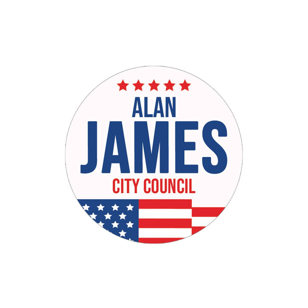 Personalized Political Campaign Vote For Stickers - Customize 1000 Round Circles - Red, White, & Blue Flag