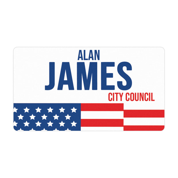 Personalized Political Campaign Vote For Stickers - Customize 750 Rectangular Stickers - Red, White, & Blue Flag
