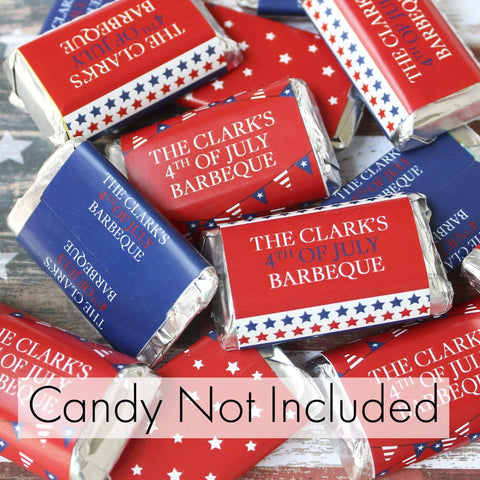 Personalized Red, White, and Blue Patriotic Party Mini Candy Bar Wrappers - 45 Stickers
