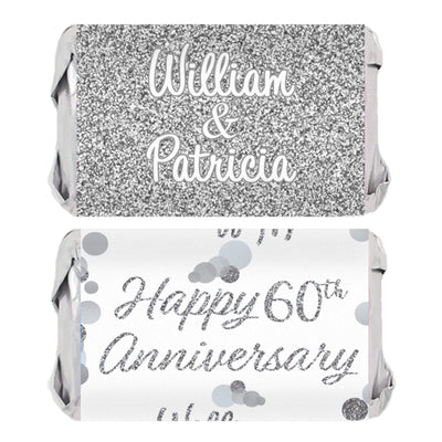 Personalized Silver Wedding Anniversary Mini Candy Bar Labels - 45 Stickers