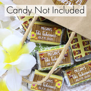 Personalized Tiki Luau Party Mini Candy Bar Labels - 45 Stickers