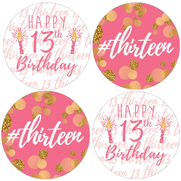 Pink and Gold 13th Birthday Party Favor Labels - 40 Stickers