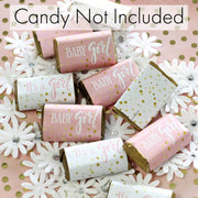 Pink and Gold It's a Girl Baby Shower Mini Candy Bar Stickers - 45 Count