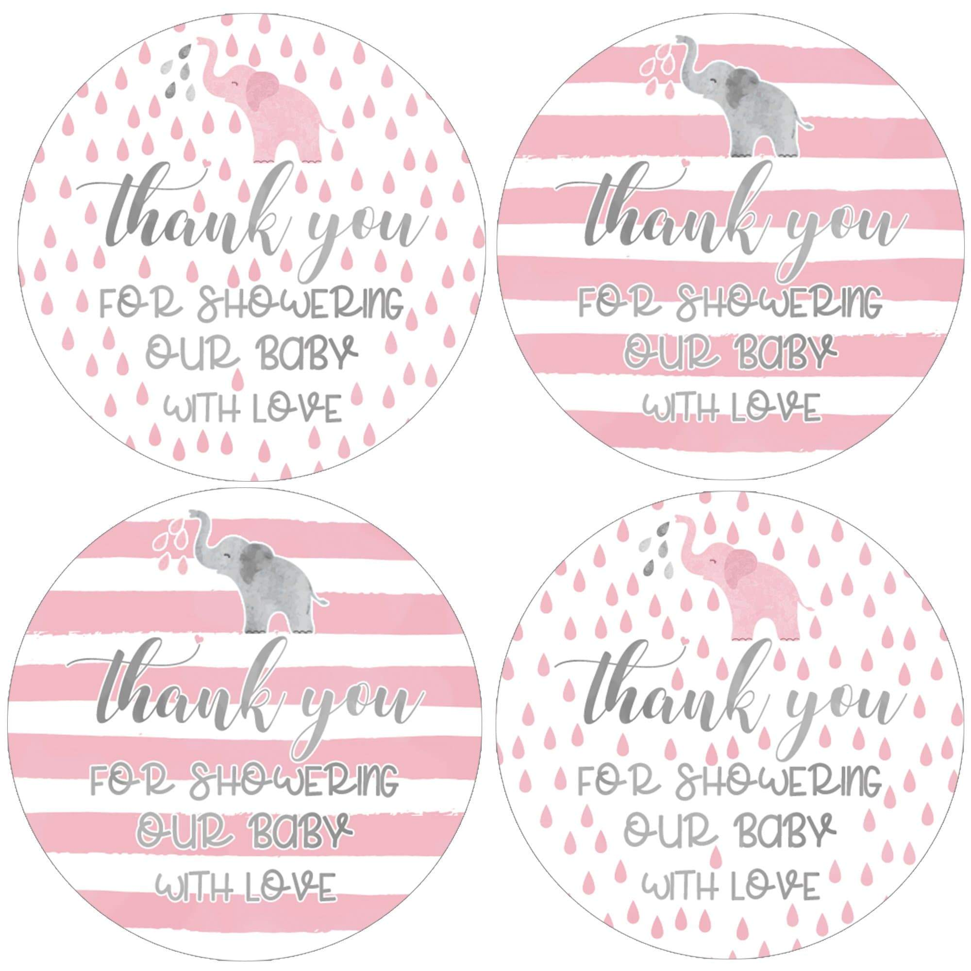 Baby Shower Party Stickers Mum To Be Thank You Bag Labels Personalised PINK LADY