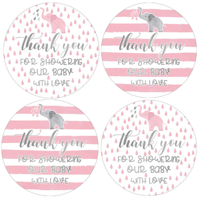 Pink Elephant Baby Shower Thank You Favor Labels - 40 Stickers