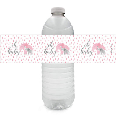 Pink Elephant Baby Shower Water Bottle Labels, 24 Count