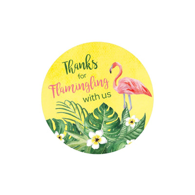 Pink Flamingo Party Favor Labels - 40 Stickers