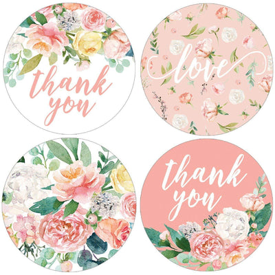 Pink Floral Baby Shower Round Labels - 40 Stickers