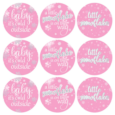 Pink Little Snowflake Winter Baby Shower Favor Stickers - Baby It's Cold Outside - 180 Labels