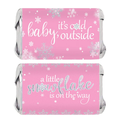 Pink Little Snowflake Winter Baby Shower Mini Candy Bar Wrappers - Baby It's Cold Outside - 45 Stickers