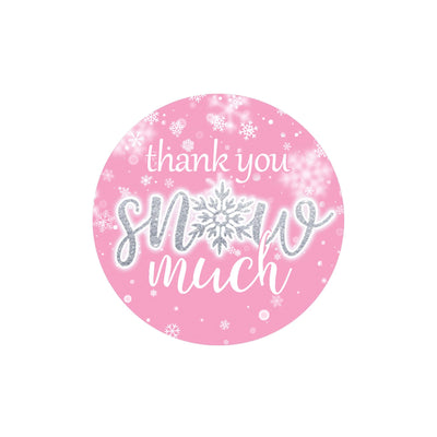 Pink Little Snowflake Winter Thank You Snow Much Stickers - 40 Count
