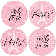 Pink Paris Party Favor Round Labels - 40 Stickers